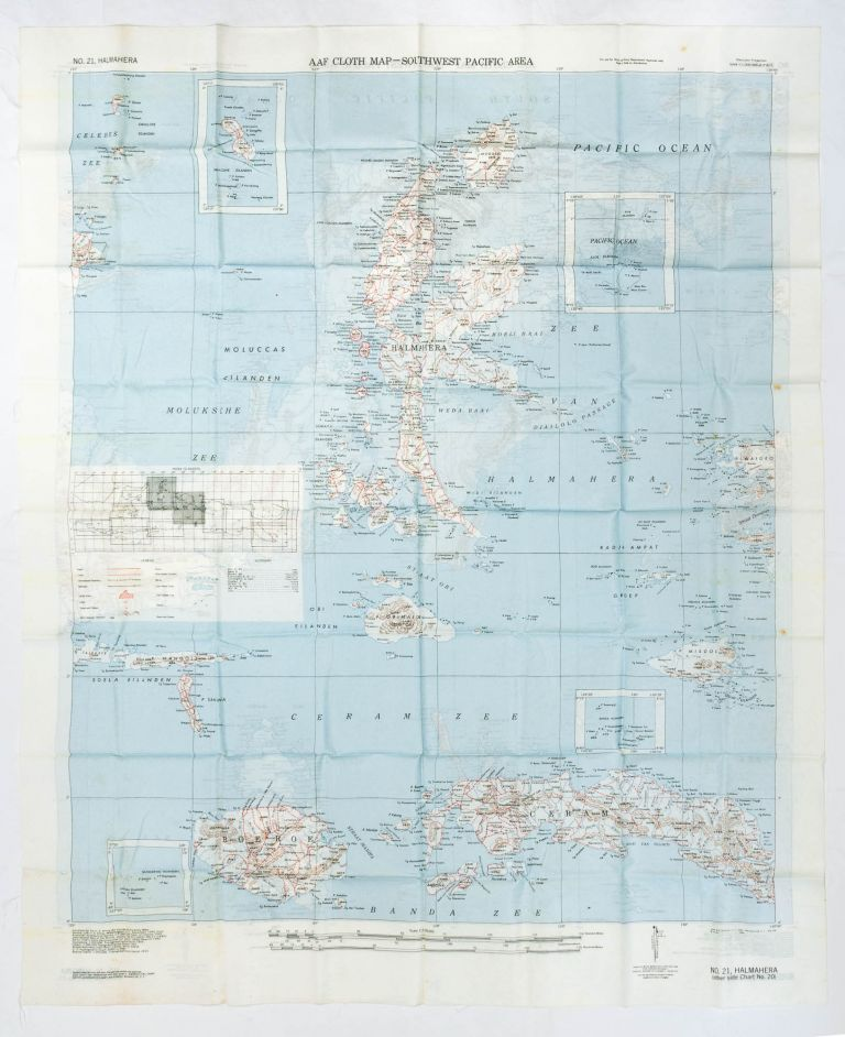 AAF Cloth Map - South West Pacific Area. No. 20, Amboina [recto]. [Together with] No. 21, Halmahera. Maps: South-West Pacific Area.