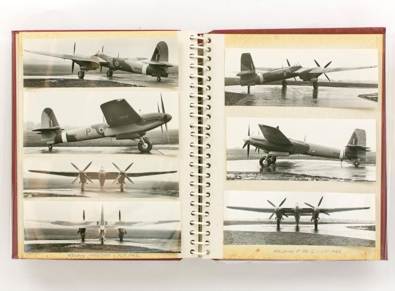 An album of 119 photographs of British aircraft of the Second World War, chiefly various models of the Vickers Wellington and Vickers Warwick bombers, including many rare and unique prototypes. Aviation.