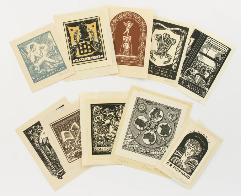 A collection of ten bookplates designed by Adrian Feint. Bookplates, Adrian FEINT.