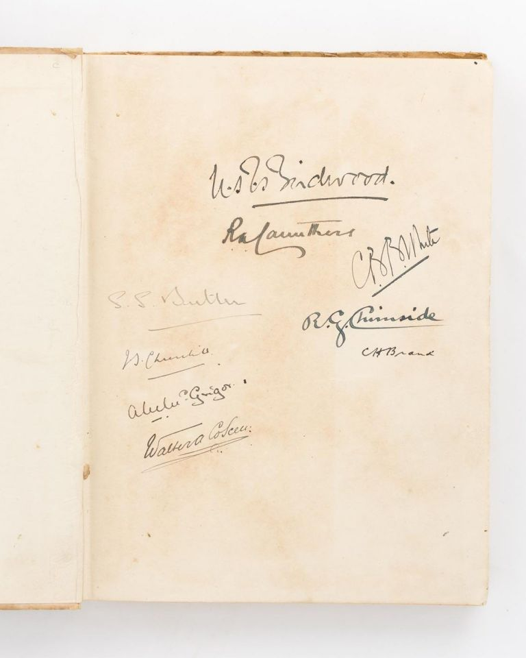 A collection of important signatures written on the endpaper of a copy of 'Told in the Huts. The YMCA Gift Book. Contributed by Soldiers & War Workers'. BIRDWOOD OF ANZAC, 1st Baron Birdwood of Anzac and Totnes Field Marshal William Riddell Birdwood.