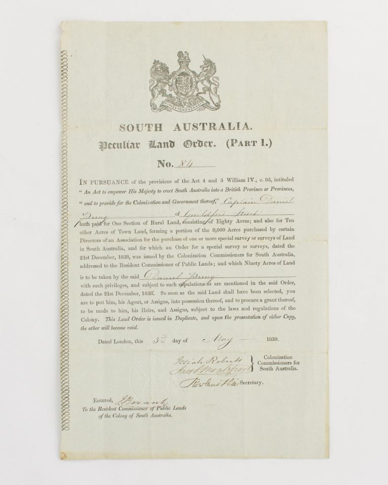 South Australia. Peculiar Land Order. (Part 1.) No. 84 [a printed document with manuscript insertions, issued to Captain Daniel Pring, who 'played an indispensable part in protecting the Montreal frontier during the War of 1812']. South Australia.