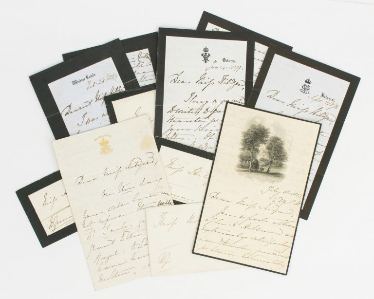A collection of five autograph letters signed by Queen Victoria ('VR') to Miss Sarah Anne Hildyard, governess to the royal children and a confidante of the Queen. Queen of Great Britain, Ireland, Empress of India.