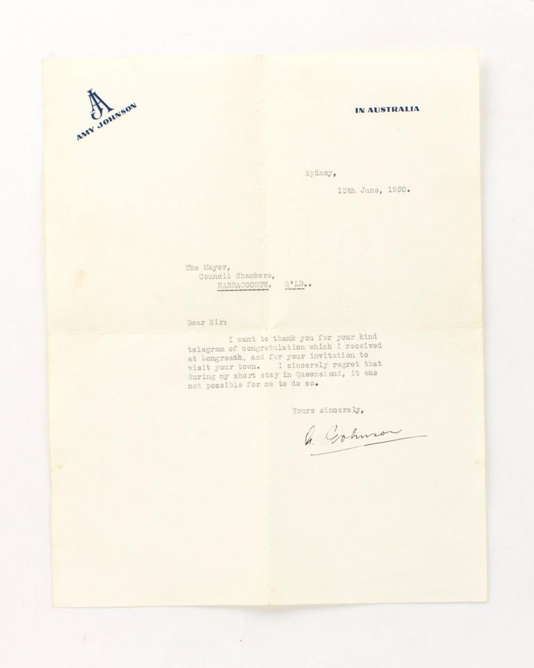 A typed letter signed by Amy Johnson to the Mayor of 'Narracoorte, Q'ld' [sic]. Amy JOHNSON.