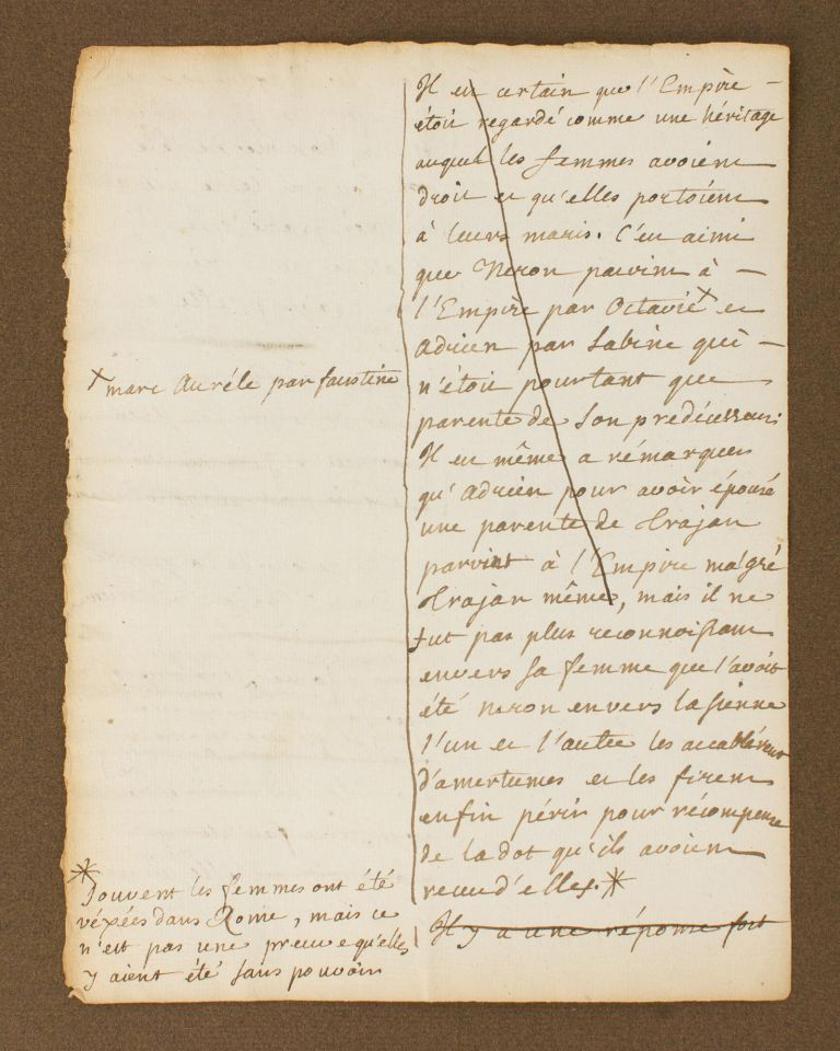 An early autograph document by Jean-Jacques Rousseau, regarding the role of women in ancient Rome, prepared for Louise-Marie-Madeleine Dupin, his sometime employer and holder of an intellectual and literary salon frequented by the leading lights of the Enlightenment. Swiss-French writer, political philosopher.