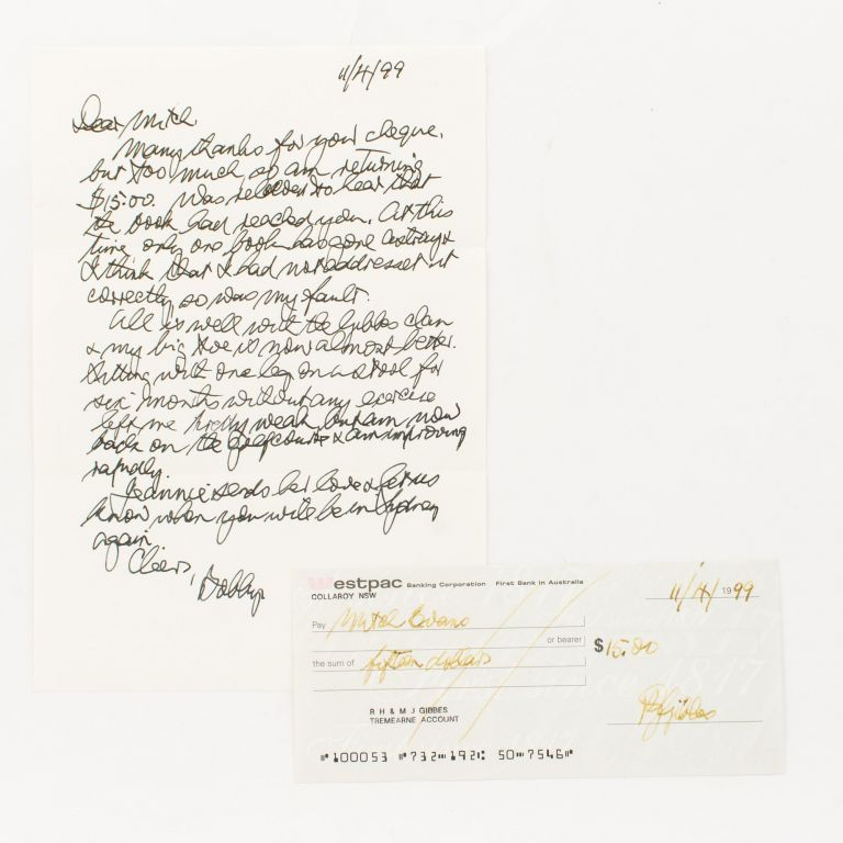An autograph letter signed by Bobby Gibbes ('Bobby'), together with a signed cheque. Wing Commander Robert Henry Maxwell 'Bobby' Gibbes GIBBES, WW2 Australian fighter ace.