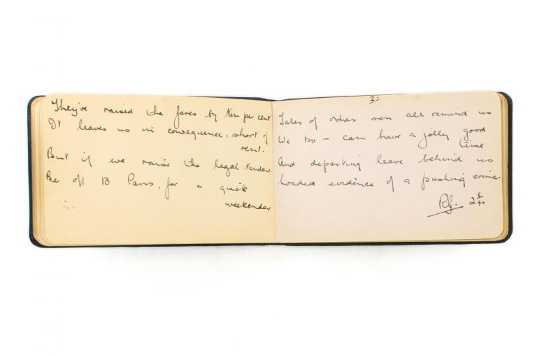 An autograph poem initialled by Robert Graves, written in 1940 in a small autograph book. Robert GRAVES.