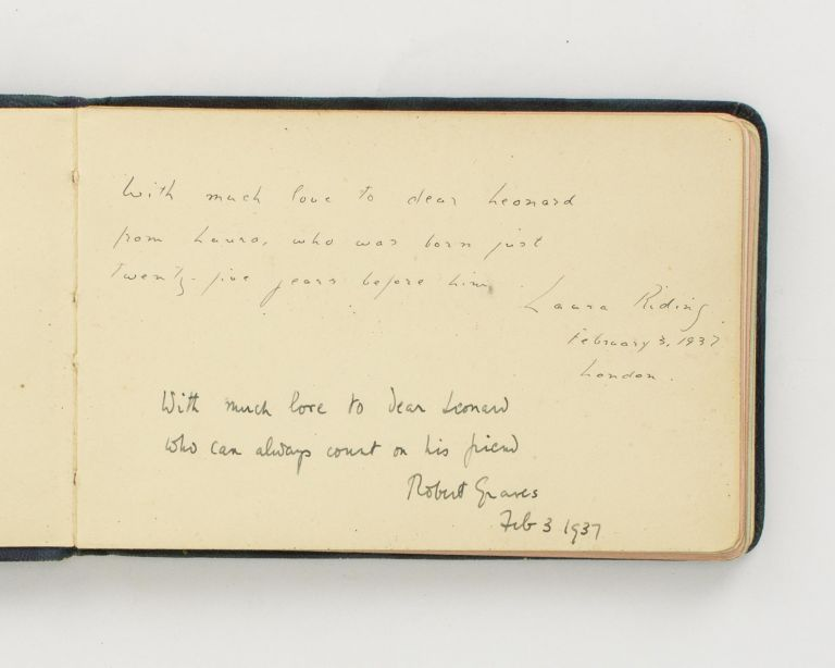 Autograph sentiments signed by both Robert Graves and Laura Riding, written in 1937 in a small autograph book. Robert GRAVES, Laura RIDING.