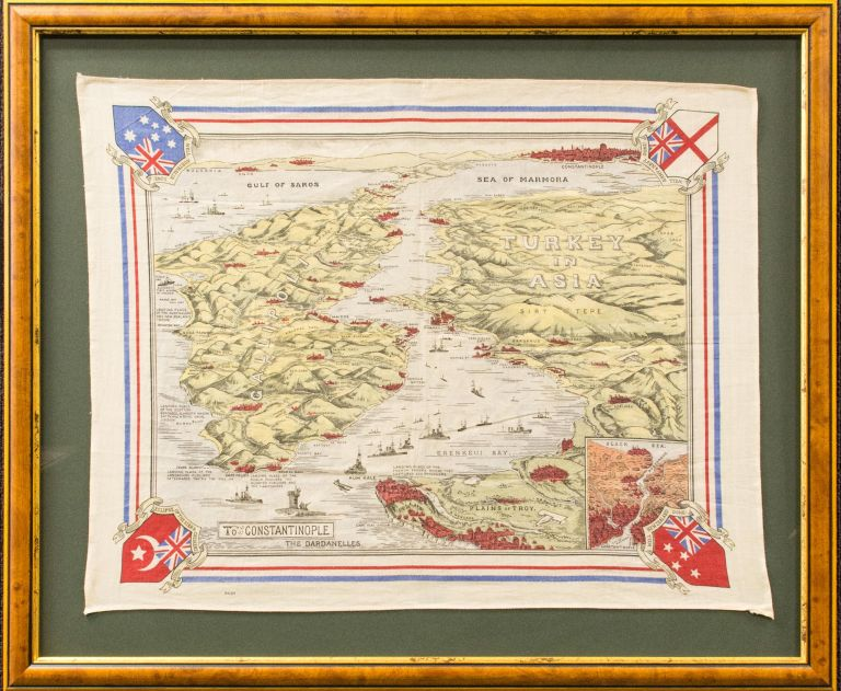 A souvenir scarf depicting, as a stylised raised-relief map, the Gallipoli Peninsula in context with Turkey, with an inset depicting Constantinople as the route to the Bosporous [sic]. Gallipoli.
