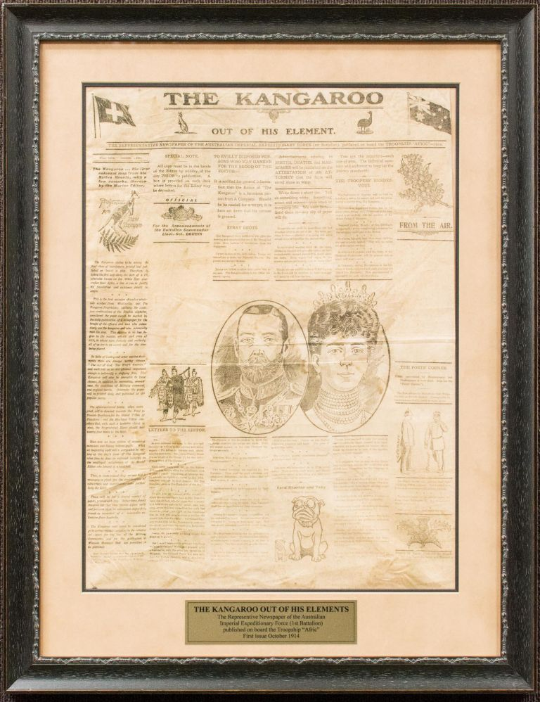 The Kangaroo out of his Element. The Representative Newspaper of the Australian Imperial Expeditionary Force (1st Battalion), published on board the Troopship 'Afric' - 1914. First Issue. HMAT 'Afric'.