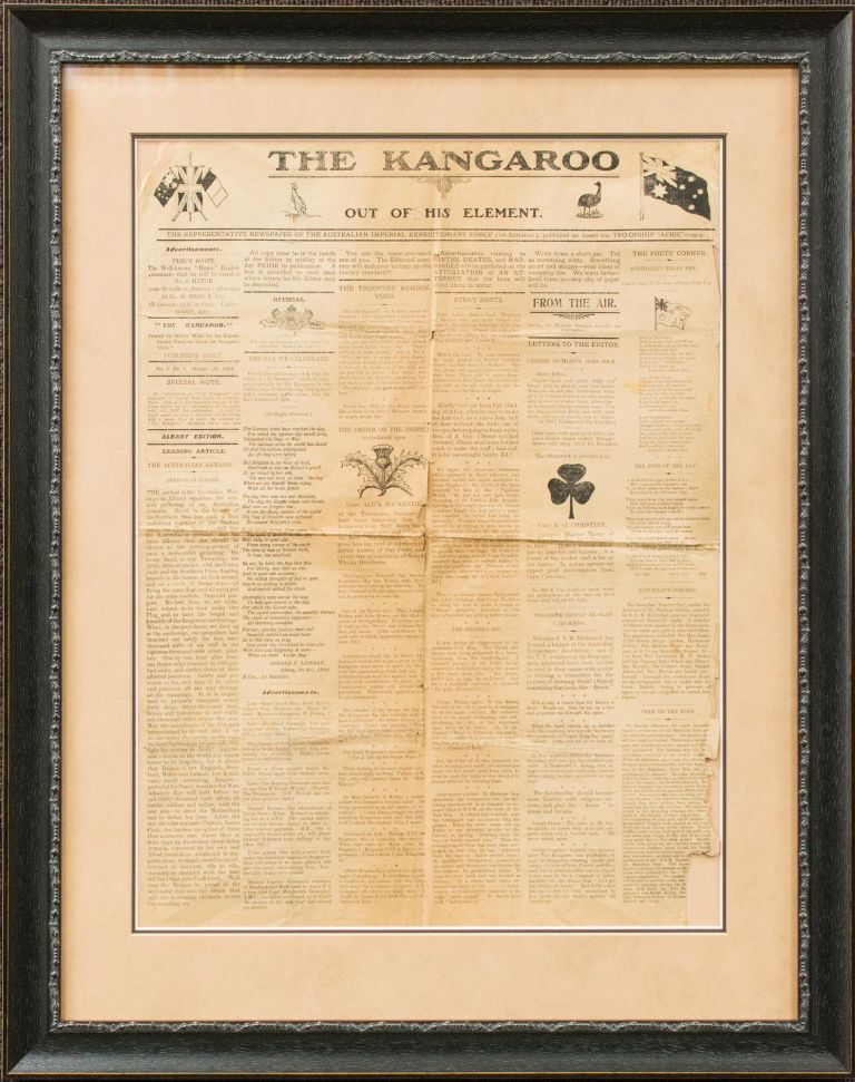 The Kangaroo out of his Element. The Representative Newspaper of the Australian Imperial Expeditionary Force (1st Battalion), published on board the Troopship 'Afric' - 1914. Volume 1, Number 7, 26 October 1914. Albany Edition. HMAT 'Afric'.