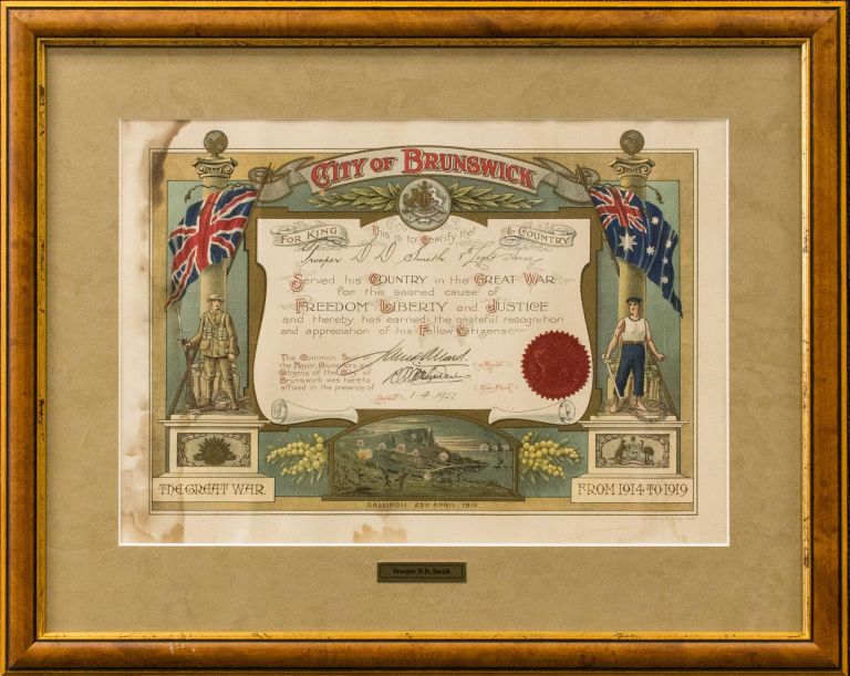 A decorative testimonial presented by the City of Brunswick, certifying that 'Trooper D.D. Smith, 8th Light Horse, Served his Country in the Great War for the sacred cause of Freedom, Liberty and Justice and thereby has earned the grateful recognition and appreciation of his Fellow Citizens'. Commemoration.