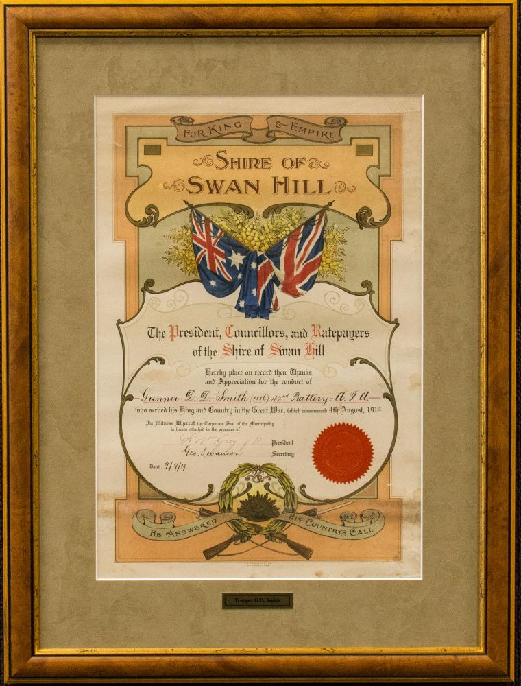 A decorative testimonial presented by the Shire of Swan Hill, Victoria, to 'place on record their Thanks and Appreciation for the conduct of Gunner D.D. Smith (1886), 42nd Battery, A.F.A., who served his King and Country in the Great War'. Commemoration.