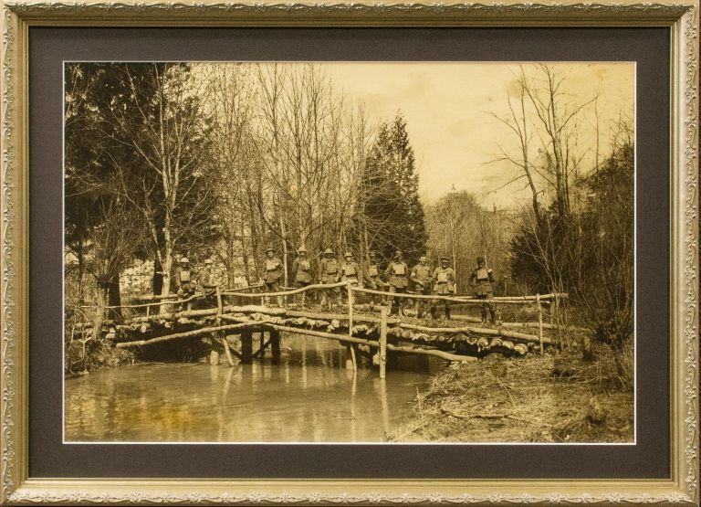 A very large photograph showing a bridge constructed by the 10th Field Company of Australian Engineers on the Western Front. Australian Engineers 10th Field Company.