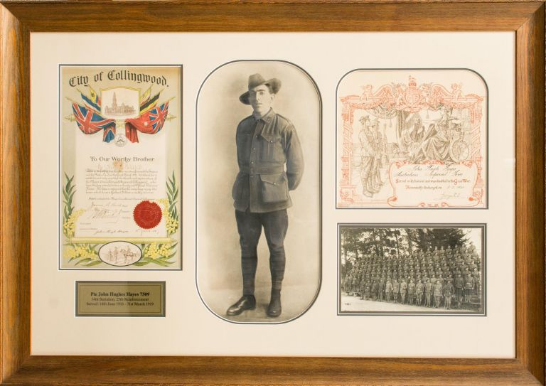 A very large framed presentation commemorating the war service of 7509 Private John Hugh Hayes, 14th Battalion. 14th Battalion, John Hugh HAYES.