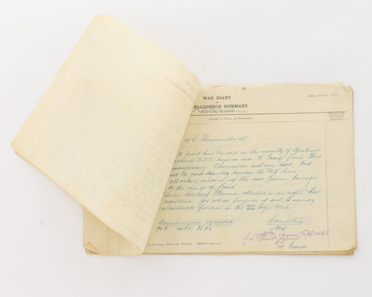 Duplicate loose-leaf sheets of the detailed daily war diary maintained in the field by Captain William John Noonan, 25th FAB, from 2 January to 11 January 1917. 25th Field Artillery Brigade.