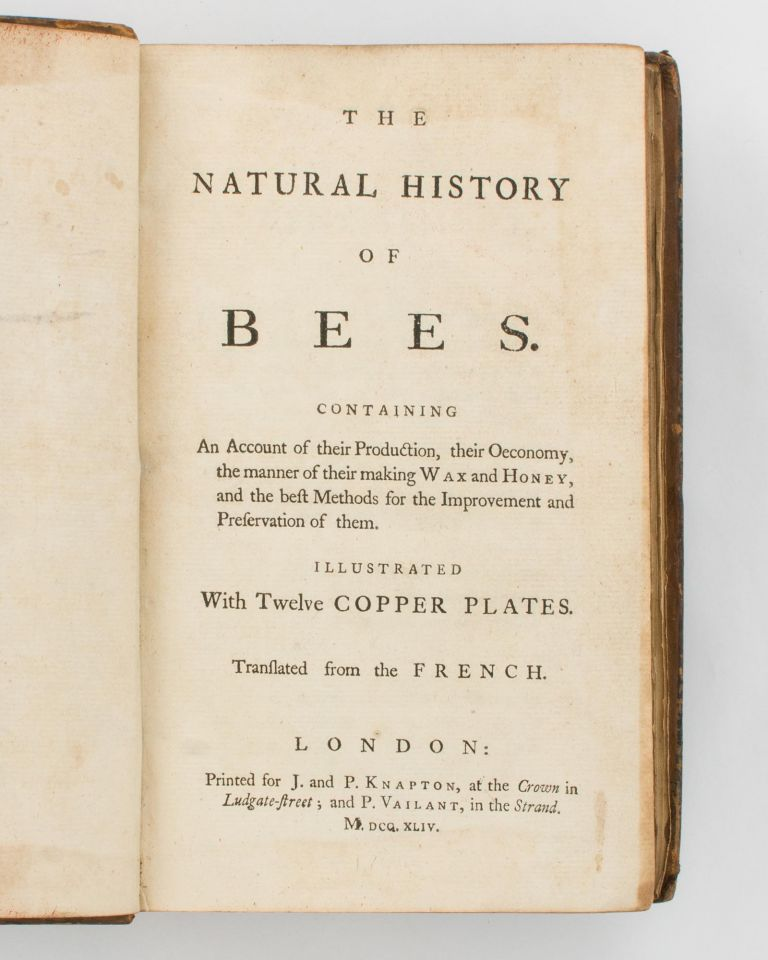 The Natural History of Bees. Containing an Account of their Production, their Oeconomy, the Manner of their making Wax and Honey, and the best Methods for the Improvement and Preservation of them.. Translated from the French. Gilles Augustin BAZIN, René-Antoine Ferchault de RÉAUMUR.