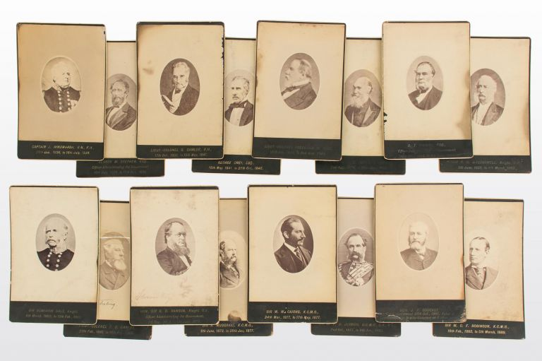 A series of 17 vintage individual portrait photographs of almost all nineteenth-century governors and administrators of South Australia. South Australian Governors.