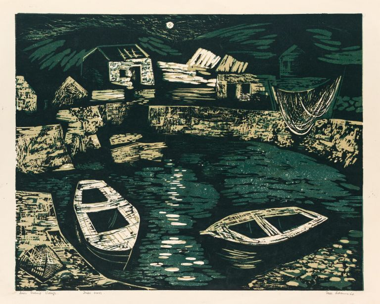 'Irish Fishing Village' (an original colour linocut printed from three blocks). Tate ADAMS.