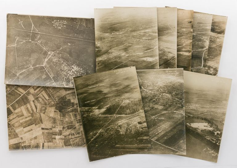 A collection of ten aerial photographs taken during the First World War. Aviation, Western Front.