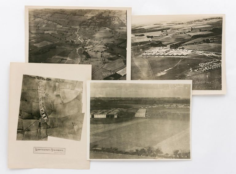 Four vintage aerial photographs of Leighterton Aerodrome, one of the training airfields for the AFC in England during the First World War. Aviation, Australian Flying Corps.