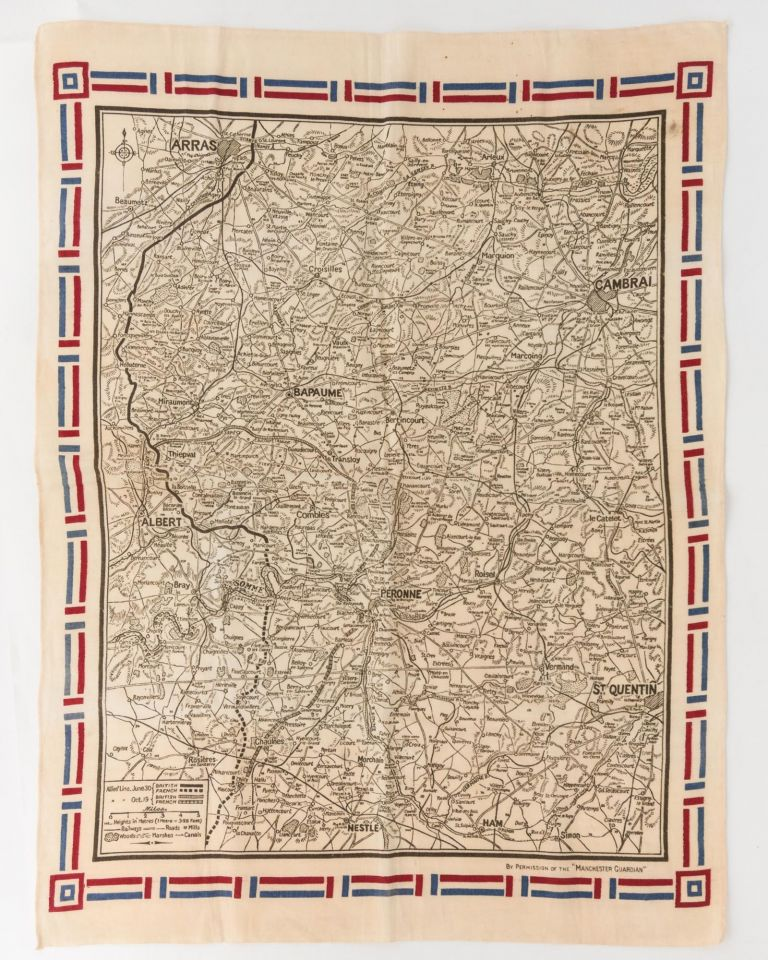 A linen map of the Western Front, showing the 'Allies' Line June 30 [and] ... Oct. 19' 1916. Map: Battles of the Somme.