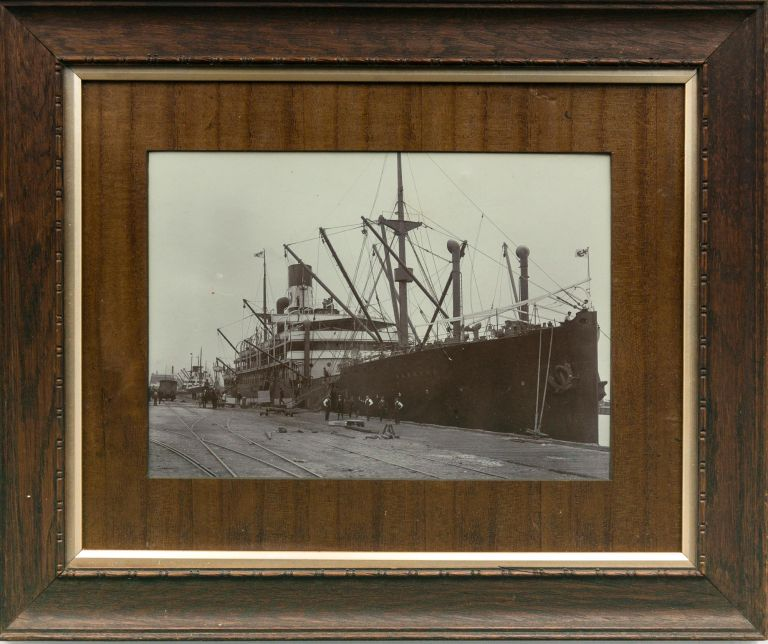 A vintage photograph of SS 'Waratah' in July 1909, at Ocean Steamers Wharf, Port Adelaide, prior to leaving Adelaide on her final voyage, when she disappeared without trace. SS 'Waratah'.