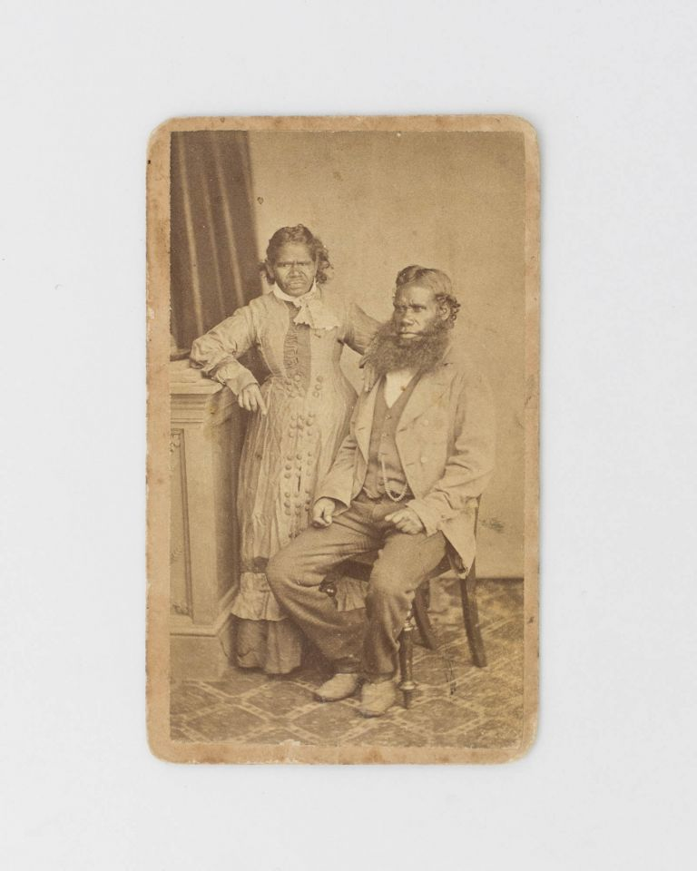 A carte de visite portrait photograph of an Indigenous man and woman in a classic studio setting of the day. Indigenous Australian Portraiture.