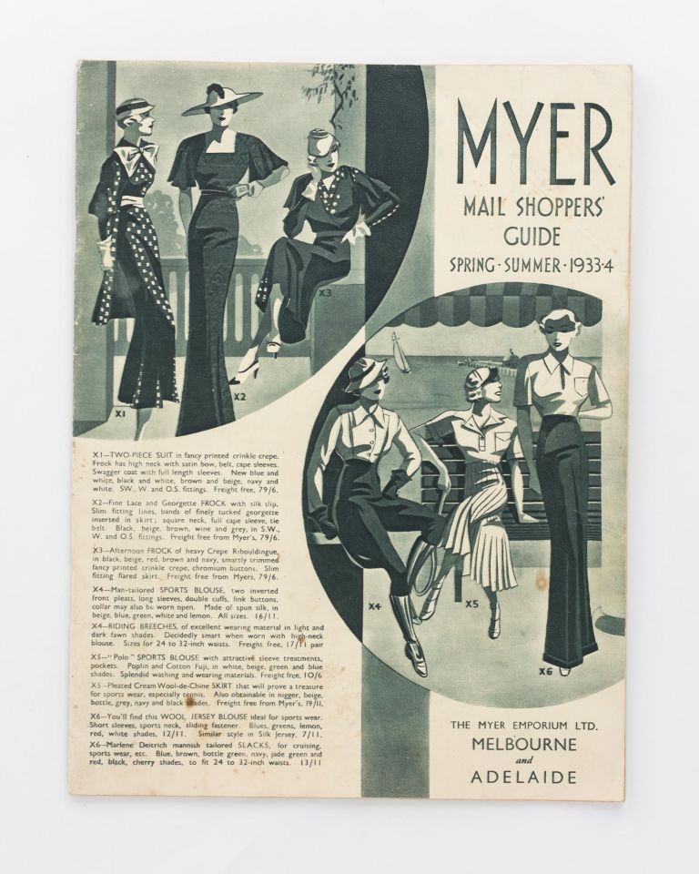 Myer Mail Shoppers' Guide. Spring-Summer, 1933-4 [cover title]. Trade Catalogue.
