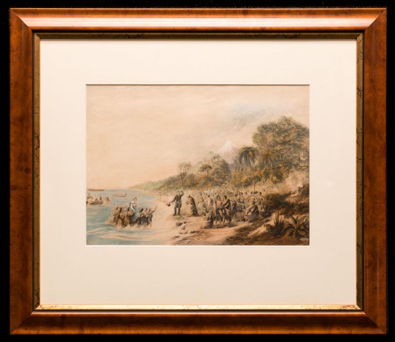 The Rev. ... Waterhouse Superintending the Landing of the Missionaries at Taranaki, New Zealand. George BAXTER, England.
