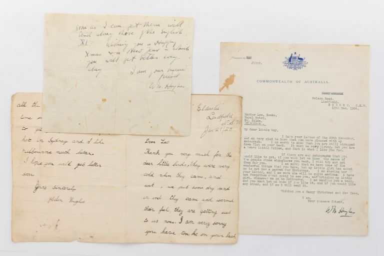 Two letters from the former Australian Prime Minister to a young lad in 1924. William Morris HUGHES.