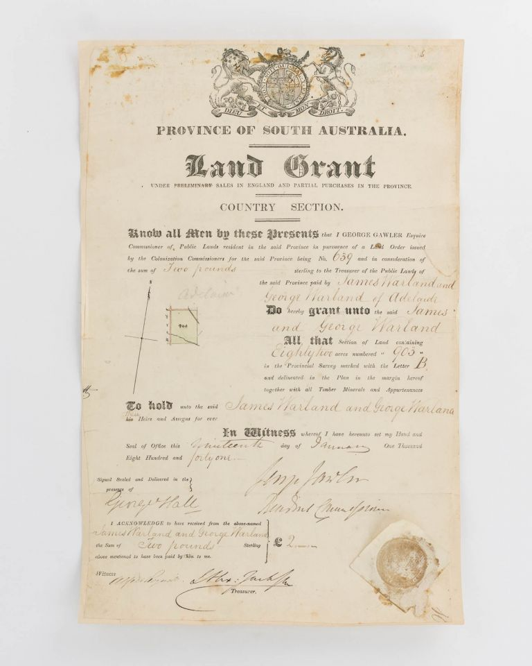Province of South Australia. Land Grant under Preliminary Sales in England and Partial Purchase in the Province. Country Section... [A printed document, with manuscript insertions]. South Australian Land Grant.