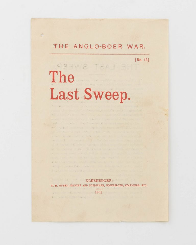 The Anglo-Boer War. No. 12. The Last Sweep [cover title]. Boer War, Herbert Melville GUEST.