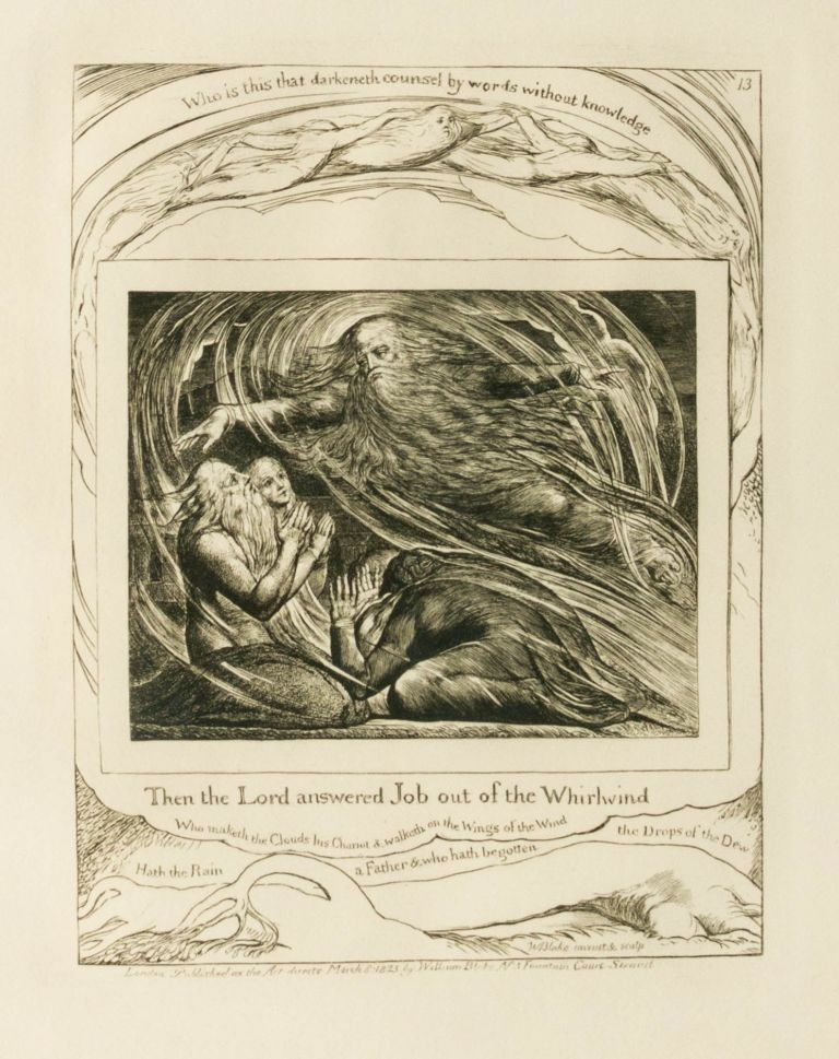 'Then the Lord answered Job out of the Whirlwind' [Plate 13 from 'Illustrations of the Book of Job']. William BLAKE.