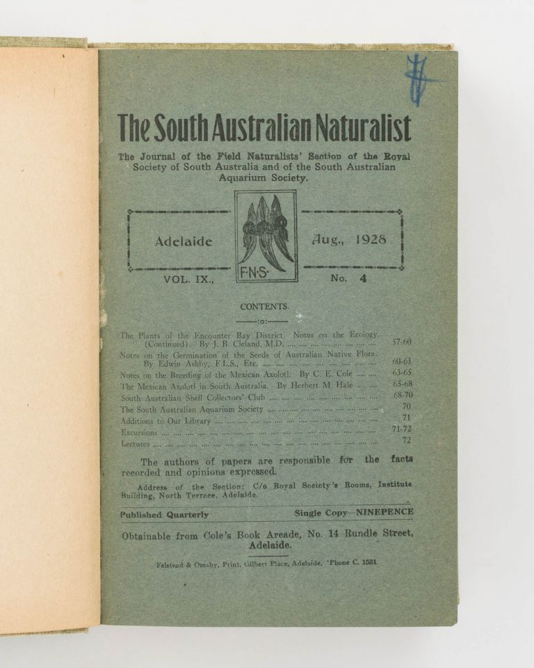 The South Australian Naturalist. The Journal of the Field Naturalists' Section of the Royal Society of South Australia. A run of 22 numbers from Volume 8, Number 1, November 1926 to Volume 13, Number 2, February 1932. Conchology, Frank TRIGG, contributor.
