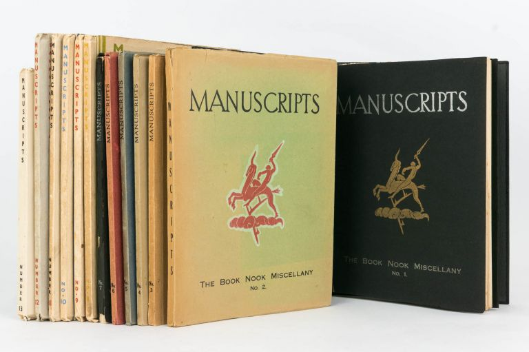 Manuscripts... Number 1, [November 1931] to Number 13, May 1935 (the complete set, variously subtitled 'The Book Nook Miscellany' [Numbers 1 and 2], 'A Miscellany of Art and Letters' [Numbers 3 to 10] and 'A Quarterly of Art and Letters' [Numbers 11 and 12]; A.C. Jackson was the co-editor for the last two issues. Manuscripts, H. Tatlock MILLER.