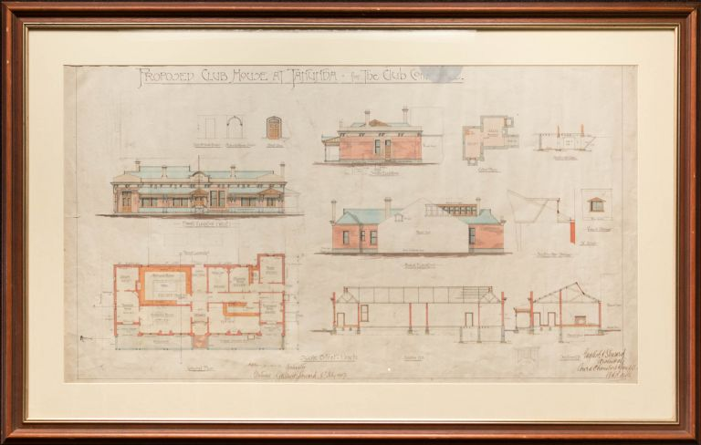 'Proposed Club House at Tanunda - for the Club Committee' [an original large hand-coloured architectural drawing]. Tanunda.