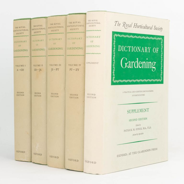 The Royal Horticultural Society Dictionary of Gardening. A Practical and Scientific Encyclopaedia of Horticulture. Edited by Fred J. Chittenden ... Second edition [in four volumes plus the Supplement]. Patrick M. SYNGE.
