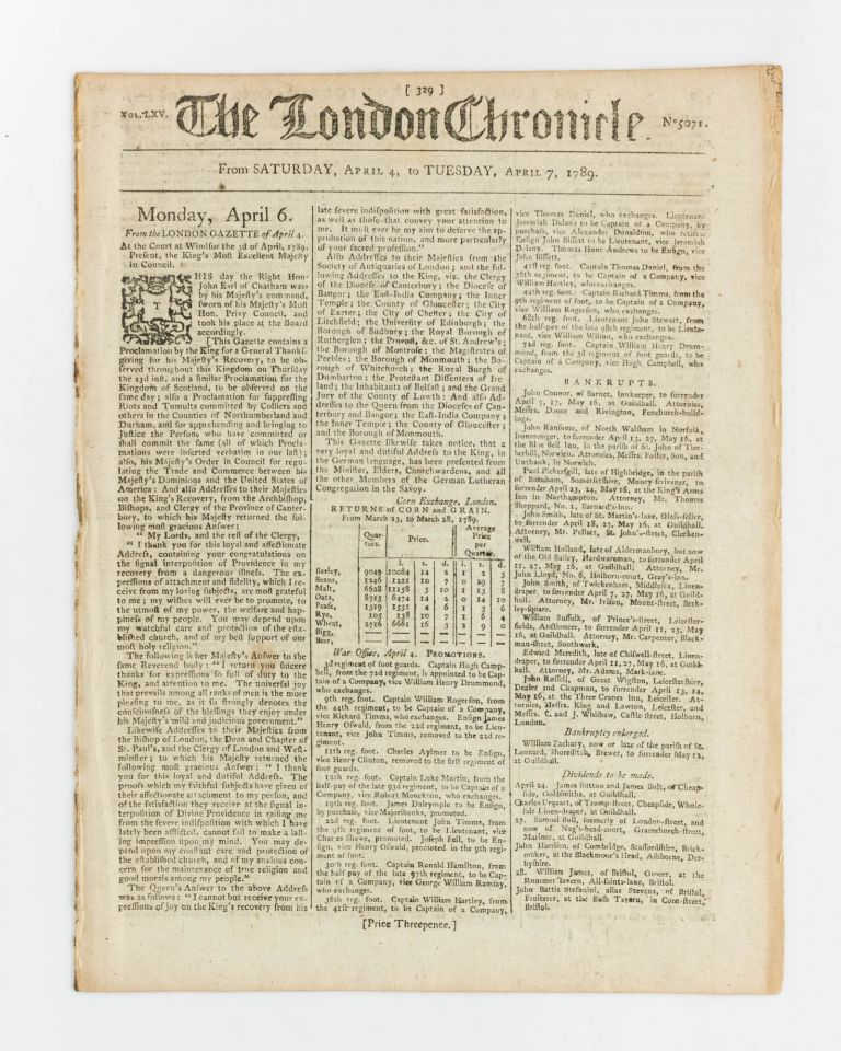 The London Chronicle. Vol. LXV. No 5071. From Saturday, April 4, to Tuesday, April 7, 1789 [drop-title]. Indigenous Australians.