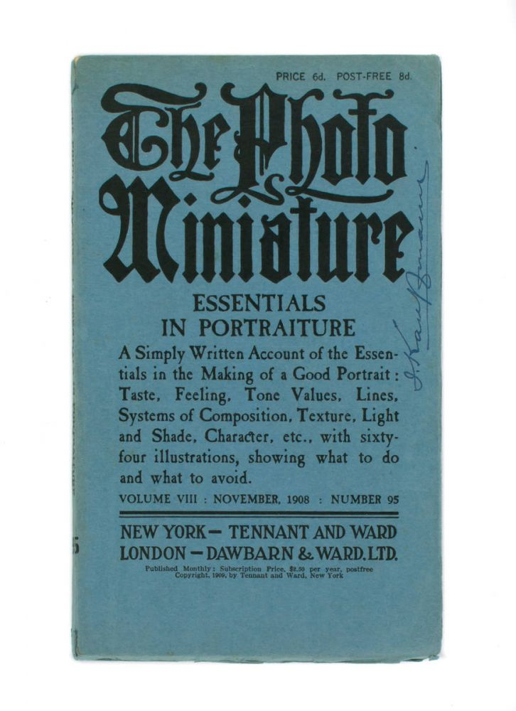 The Photo-Miniature. A Magazine of Photographic Information. Edited by John A. Tennant. Volume 8, Number 95, November 1908. Essentials in Portraiture