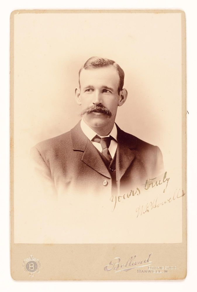 An albumen paper cabinet photograph (image size 140 x 100 mm) laid down on the silver-embossed card of Bolland of Hanwell. It is a stylised head-and-shoulders portrait in fine condition, inscribed and signed across the base of the image 'Yours truly W.P. Howell'; it dates from his first tour of England in 1899. Howell, a useful all-rounder, toured England three times, taking all 10 for 28 against Surrey in his first appearance there. This particular photograph comes from the personal collection of Victor Trumper: it also comes from the superb Ramamurthy collection, and is sold with a letter of authentication and a mint copy of the 1997 auction sale catalogue (where the item is illustrated, with the provenance not noted). Cricket, William Peter HOWELL, NSW and Australia.