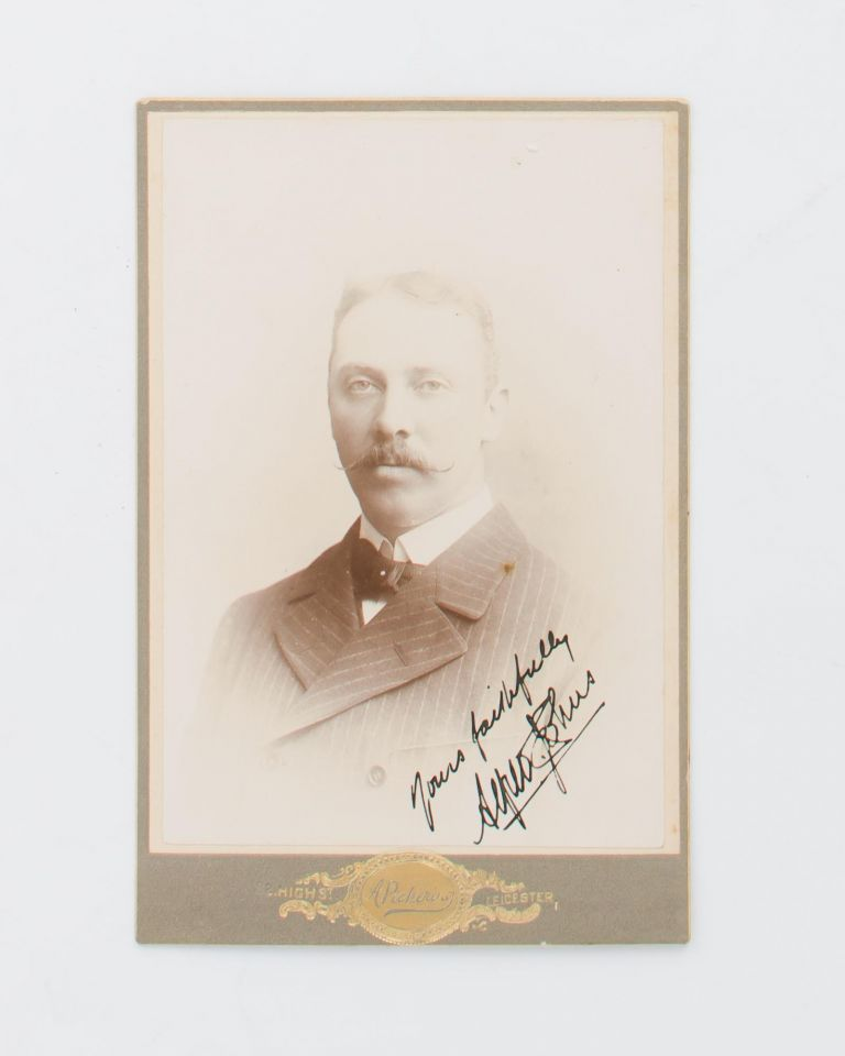 An albumen paper cabinet photograph (image size 140 × 95 mm) mounted on the gold-embossed card of A. Pickering of Leicester. Cricket, Alfred Ernest JOHNS, Victoria.