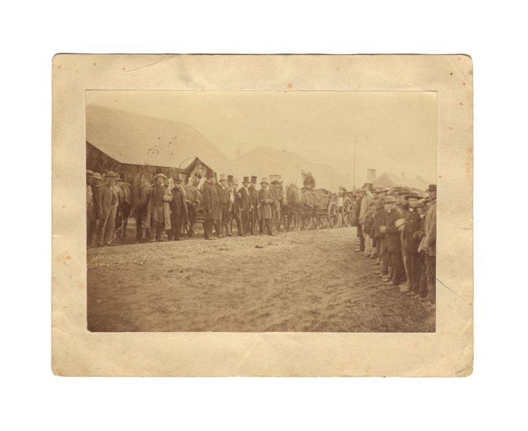 An original (and probably vintage) albumen paper photograph (103 × 150 mm) of the departure, from the Barossa Valley, of the first Lutheran missionaries to Lake Killalpaninna in northern South Australia. Killalpaninna.