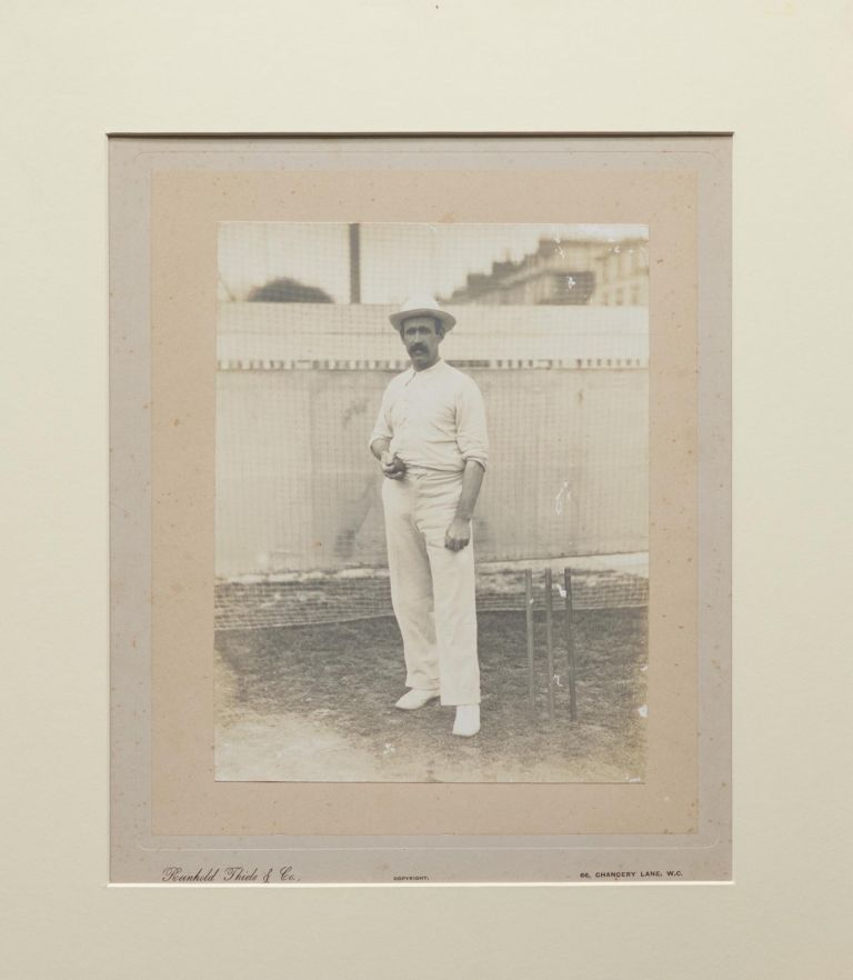 A vintage albumen paper photograph (250 x 195 mm) of William Howell, the Australian 'all-rounder of the highest class', who played 18 Test matches between 1897 and 1905, touring England in 1899, 1902 and 1905 (taking all 10 for 28 against Surrey in his first match in England in 1899). Cricket, William Peter HOWELL, NSW and Australia.