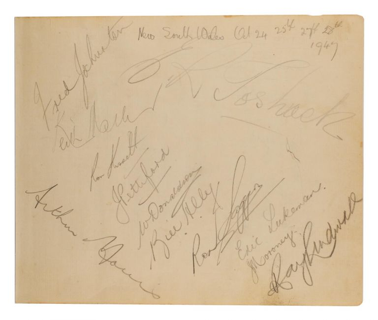 A detached autograph album leaf (165 × 200 mm) signed in pencil by the NSW team for the match against Queensland, 24-28 October 1947 (SSM 354). Cricket, 1947 New South Wales, 1947 Victoria.