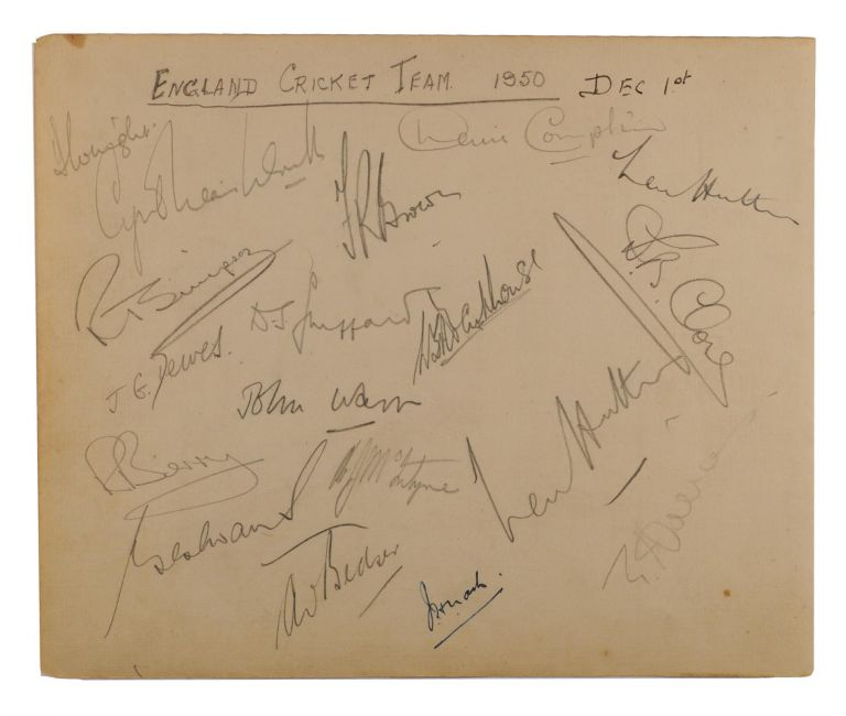 A detached autograph album leaf (165 × 200 mm) signed (mainly) in pencil by the touring MCC team in Australia, at the time of the First Test in Brisbane, 1-5 December 1950. Cricket, MCC.