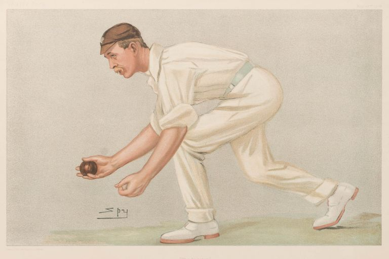 'The Lobster' [a chromolithograph by 'Spy' (Leslie Ward), published in 'Vanity Fair', 22 May 1902]. Cricket, Digby Loder Armroid JEPHSON, Cambridge University and Surrey.