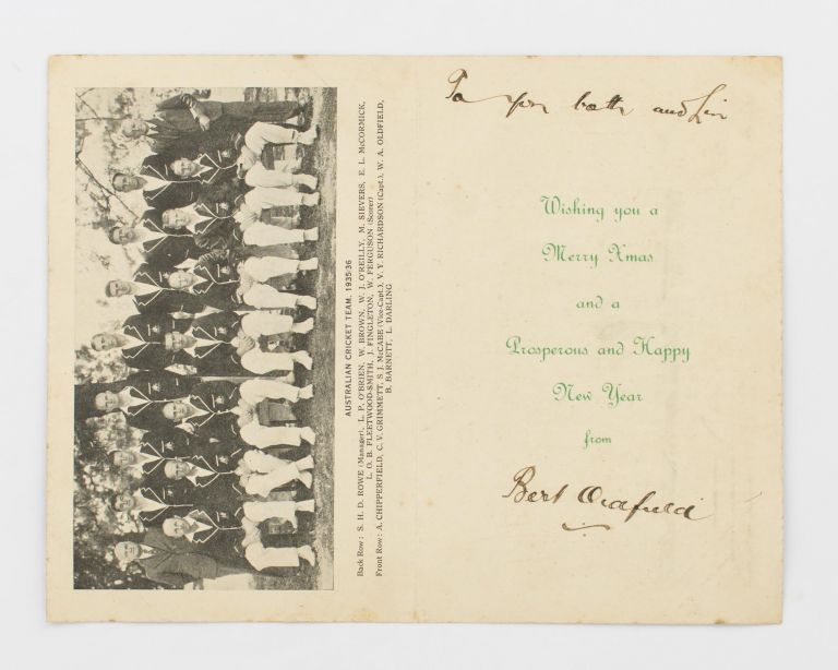 Australian Cricket Team. South African Tour, 1935-36 [cover title]. An official Christmas card. 1935 -36 Australia.
