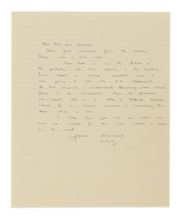 An autograph letter signed ('Monty') to Rose and Harold [Sheard]; one page small quarto, undated but 1964 from the content. Charles Pearcy MOUNTFORD.