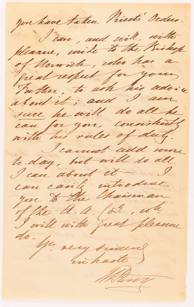 An autograph letter signed by William Parry ('W. Parry') to 'My dear King' (the Reverend Arthur Septimus King, son of Captain Phillip Parker King), regarding assistance with finding him a curacy. Rear-Admiral Sir William PARRY, Arctic explorer.