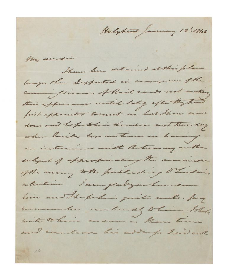 An autograph letter signed (small quarto, 2 pages; Holyhead, 12 January 1840) to an unidentified recipient. Frederick William BEECHEY, British rear-admiral, Arctic explorer.